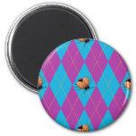 Purple & Blue Argyle Ladybug Fridge Magnet