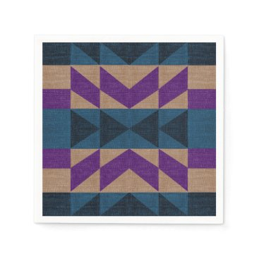 Aztec Themed Purple Blue Aztec Pattern Paper Napkin