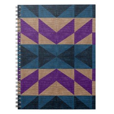 Aztec Themed Purple Blue Aztec Pattern Spiral Notebook