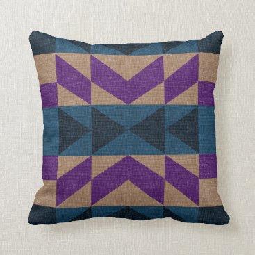 Aztec Themed Purple Blue Aztec Pattern Throw Pillow