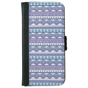 Aztec Themed Purple Blue Aztec Stylish iPhone 6 Wallet Case