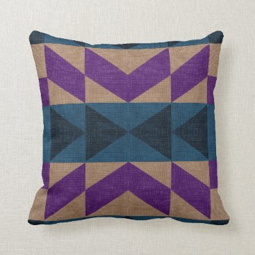 Beach Themed Purple Blue & Beige Mayan Print Accent Pillow