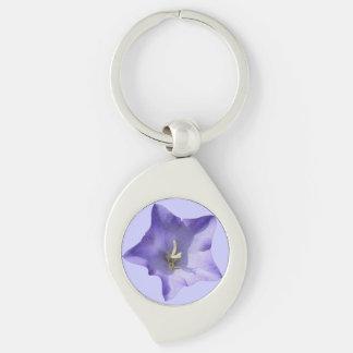 Purple Blue Bellflower looks Swirl Keychain