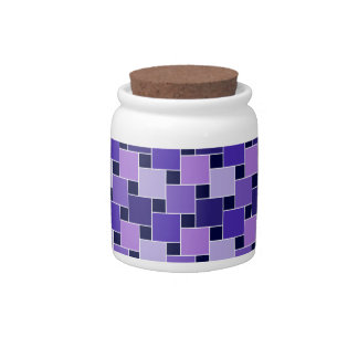 Purple Blue & Black Abstract Squares Candy Jar
