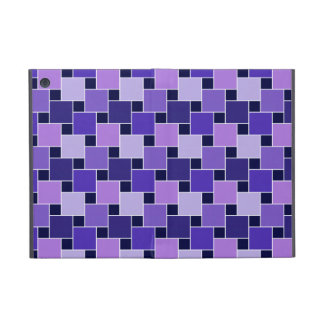 Purple Blue & Black Abstract Squares Covers For iPad Mini