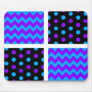 Purple/Blue/Black/White Polka Dot/Chevron Mouse Pad