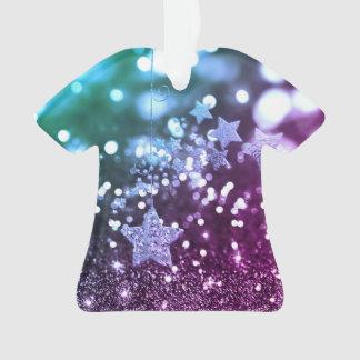 Purple & Blue Bokeh Faux Glitter & Stars Ornament