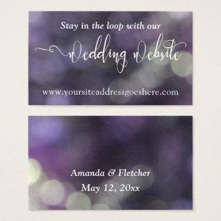 Purple Blue Bokeh Light 32 Wedding Website Address Business Card