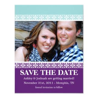 """Purple & Blue Border Photo Save The Date Invites 4.25"""" X 5.5"""" Invitation Card"""