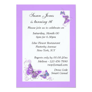 Purple blue butterfly floral PERSONALIZE Card