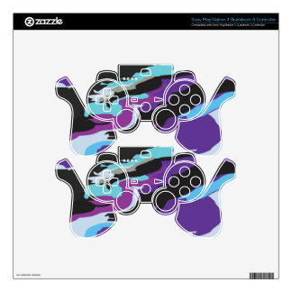 Purple Blue Camouflage Decal For PS3 Controller