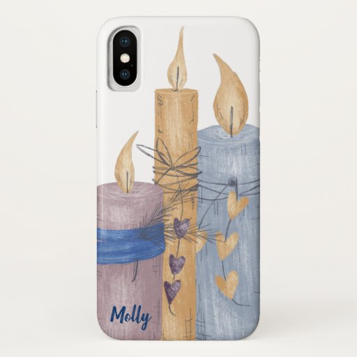 Purple & Blue Candle Drawing iPhone X Case