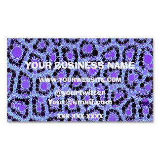 Purple Blue Cheetah Circle Abstract Magnetic Business Card