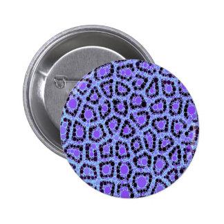 Purple Blue Cheetah Circle Abstract Pinback Button