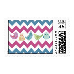 Purple Blue Chevron Stripes Whimsical Birds Owl Postage