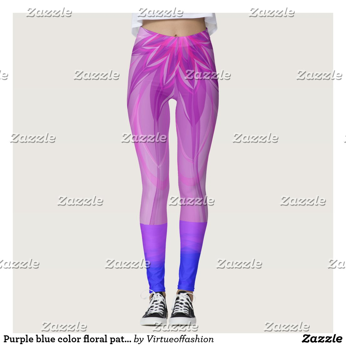 Purple blue color floral pattern popular legging