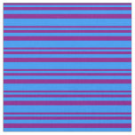 [ Thumbnail: Purple & Blue Colored Stripes/Lines Pattern Fabric ]