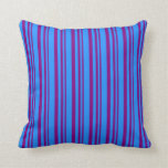 [ Thumbnail: Purple & Blue Colored Stripes/Lines Pattern Pillow ]