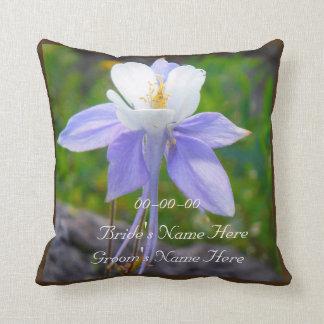 Purple Blue Columbine wedding personalize names Pillow