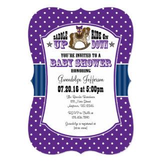 Purple Blue Cowboy Baby Shower Invitation