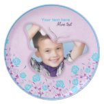 Purple & blue cute butterfly photo frame for kids dinner plate