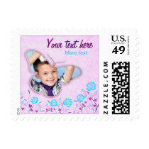Purple & blue cute butterfly photo frame for kids postage