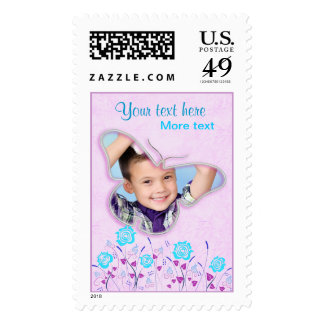 Purple & blue cute butterfly photo frame for kids stamp