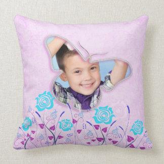 Purple & blue cute butterfly photo frame pillows