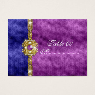 purple blue damask table placement guests business card