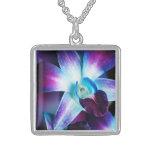 Purple & Blue Dendrobium Orchid Customized Orchids Square Pendant Necklace