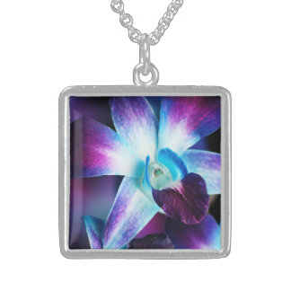 Purple & Blue Dendrobium Orchid Customized Orchids Square Pendant Necklace