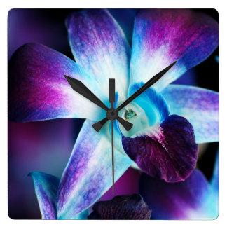 Purple & Blue Dendrobium Orchid Customized Orchids Square Wallclocks