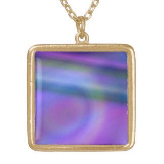 Purple blue design square pendant necklace