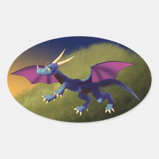 Purple/Blue Dragon 11/14/15 Oval Sticker