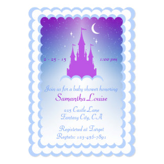 Purple Blue Dream Castle In The Clouds Baby Shower Card