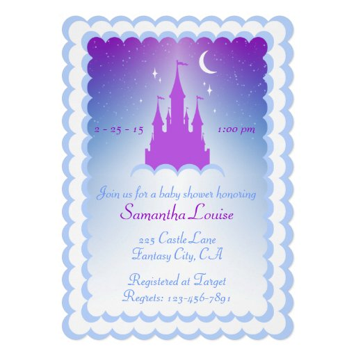 Purple Blue Dream Castle In The Clouds Baby Shower Personalized Announcements