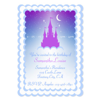 Purple Blue Dream Castle In The Clouds Birthday Card