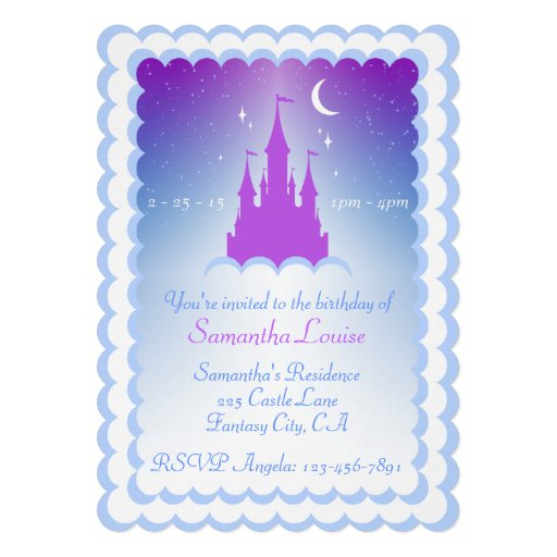 Purple Blue Dream Castle In The Clouds Birthday Personalized Invites