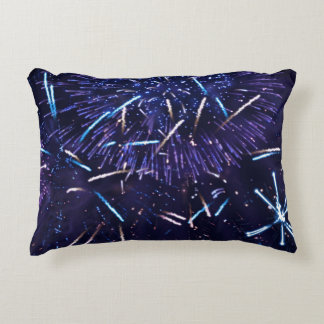 purple blue fireworks accent pillow