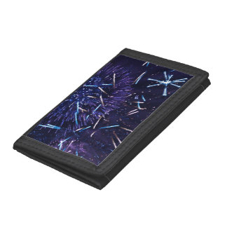 purple blue fireworks trifold wallet