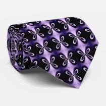 Purple Blue Floral Petal Digital Pattern Neck Tie