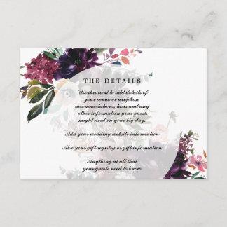 purple blue floral wedding details information enclosure card