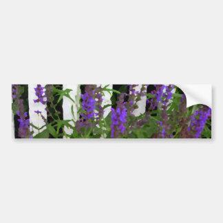 Purple Blue Flowers Fence Car Bumper Sticker