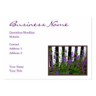 Purple Blue Flowers Fence Business Card