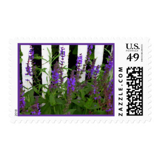 Purple Blue Flowers Fence Postage Stamps