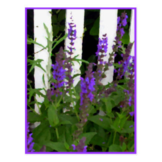 Purple Blue Flowers Fence Postcard