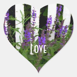 Purple Blue Flowers Fence Heart Sticker