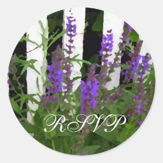 Purple Blue Flowers Fence Stickers