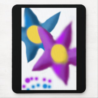 Purple Blue Flowers Painting Mouse Pad