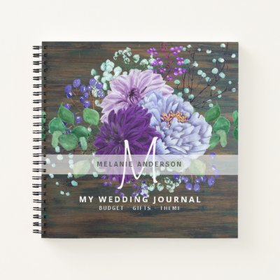Purple Blue Flowers Wedding Planning Monogram Notebook
